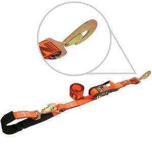 VULCAN 1-Ply Flexible Axle Tie Down Combo Strap with Snap Hook Ratchet - 2 Inch x 114 Inch - 3,300 Pound Safe Working Load