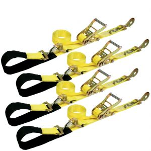 VULCAN 1-Ply Flexible Axle Tie Down Combo Strap with Snap Hook Ratchet - 2 Inch x 114 Inch, 4 Pack - 3,300 Pound Safe Working Load