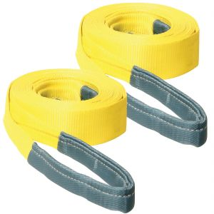 VULCAN Tow Strap with Reinforced Eyes - Standard Duty - 3 Inch x 30 Foot, 2 Pack - 7,500 Pound Towing Capacity