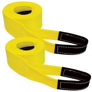 VULCAN Tow Strap with Reinforced Eyes - Heavy Duty - 4 Inch x 30 Foot, 2 Pack - 10,000 Pound Towing Capacity