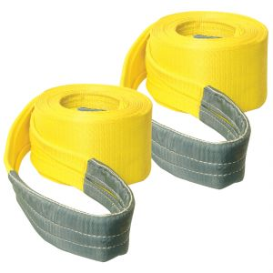 VULCAN Tow Strap with Reinforced Eyes - Heavy Duty - 6 Inch x 30 Foot, 2 Pack - 15,000 Pound Towing Capacity