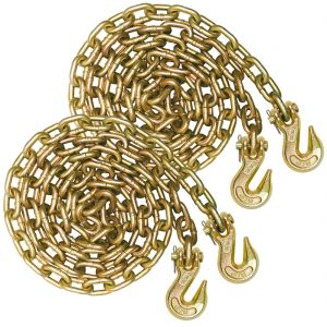 VULCAN Binder Chain with Clevis Grab Hooks - Grade 70 - 3/8 Inch x 20 Foot, 2 Pack - 6,600 Pound Safe Working Load