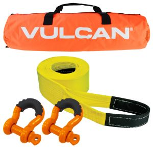 """VULCAN Heavy Duty Tow Strap Kit - Includes 3"""" x 30' Tow Strap, Heavy Duty Shackles, And Storage Bag - 7,500 lbs. Towing Capacity"""