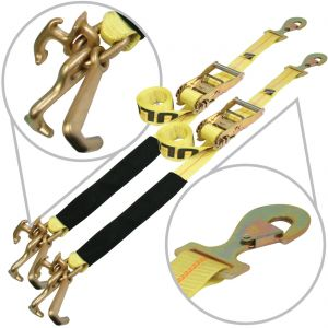 VULCAN Snap Hook Auto Tie Down with RTJ Hook Cluster - 96 Inch, 2 Pack - 3,300 Pound Safe Working Load