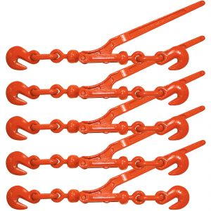 VULCAN Load Binder with 2 Grab Hooks - Lever Style - For 3/8 Inch Grade 70 or 1/2 Inch Grade 43 Chain, 5 Pack - 9,200 Pound Safe Working Load
