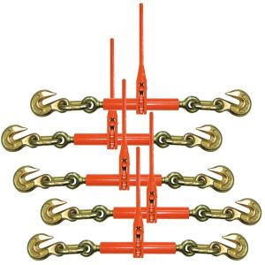 VULCAN Ratchet Style Load Binder with 2 Grab Hooks, 5 Pack - 9,200 Pound Safe Working Load (For 3/8 Inch Grade 70 or 1/2 Inch Grade 43 Chain)