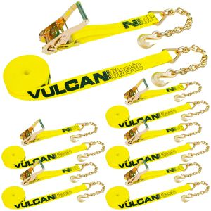 VULCAN Ratchet Strap with Chain Anchors - 2 Inch x 27 Foot, 6 Pack - Classic Yellow - 3,300 Pound Safe Working Load