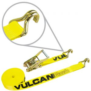 VULCAN Ratchet Strap with Wire Hooks - 2 Inch - Classic Yellow - 3,300 Pound Safe Working Load