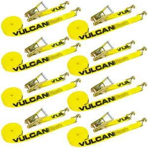 VULCAN Ratchet Strap with Wire Hooks - 2 Inch x 27 Foot, 8 Pack - Classic Yellow - 3,300 Pound Safe Working Load