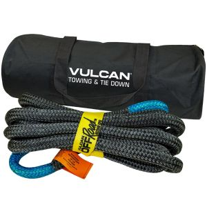 VULCAN Off-Road Recovery Rope - 7/8 Inch x 20 Foot - Blue Eyes - 28,600 Pound Breaking Strength - Includes Vented Storage Bag