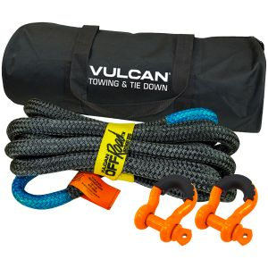 VULCAN Off-Road Double Braided Recovery Rope Kit with 7/8 Inch x 20 Foot Rope, Two Shackles and Vented Storage Bag - 28,600 lbs. Breaking Strength - Blue, Black