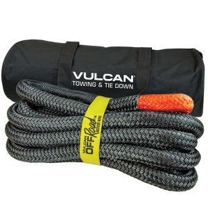 VULCAN Off-Road Recovery Rope - 1-1/4 Inch x 30 Foot - Orange Eyes - 52,300 Pound Breaking Strength - Includes Vented Storage Bag
