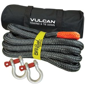 VULCAN Off-Road Double Braided Recovery Rope Kit with 1-1/4 Inch x 30 Foot Rope, Two Shackles and Vented Storage Bag - 52,300 Pound Breaking Strength - Orange, Black