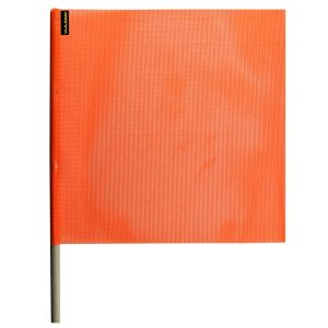 VULCAN Safety Flag with Dowel - Bright Orange - Vinyl Coated Nylon Mesh Construction - 18 Inch x 18 Inch