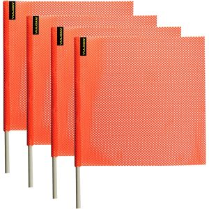 VULCAN Safety Flag with Dowel - Bright Orange - Jersey Mesh Construction - 18 Inch x 18 Inch, 4 Pack