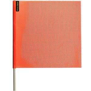 VULCAN Safety Flag with Dowel - Bright Orange - Jersey Mesh - 18 Inch x 18 Inch