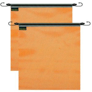 VULCAN Safety Flag with Stretch Cord - Bright Orange - Mesh Construction - 18 Inch x 18 Inch, 2 Pack