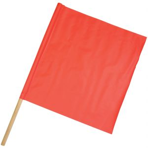 VULCAN Safety Flag with Dowel - Red - Premium Vinyl Coated Nylon - 18 Inch x 18 Inch