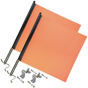 VULCAN Heavy Duty Spring Warning Flag Kit with Universal Mounting Bracket - Mesh Construction - 18 Inch, 2 Pack