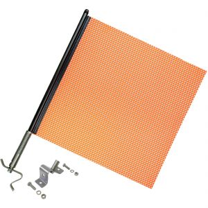 VULCAN Heavy Duty Spring Warning Flag Kit with Universal Mounting Bracket - Mesh Construction - 18 Inch