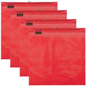 VULCAN Safety Flag with Wire Loop - Bright Red - Vinyl Coated Polyester Construction - 18 Inch x 18 Inch, 4 Pack