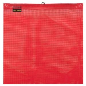 VULCAN Safety Flag with Wire Loop - Bright Red - Vinyl Coated Polyester Construction - 18 Inch x 18 Inch