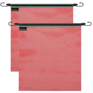 VULCAN Safety Flag with Stretch Cord - Red - Mesh Construction - 18 Inch x 18 Inch, 2 Pack