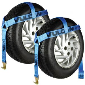 VULCAN Bonnet Style Wheel Dolly Tire Harness with Flat Hooks - 1,665 Pound Safe Working Load, 2 Pack