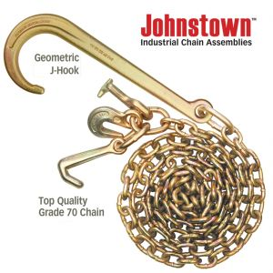 Johnstown Grade 70 Tow Chain with 15 Inch Forged J Hook and GTJ Cluster - 4,700 Pound Safe Working Load