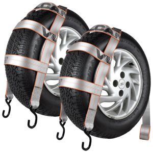 VULCAN Wheel Dolly Tire Strap with S Hooks - Basket Style - 78 Inch, 2 Pack - Silver Series - 1,665 Pound Safe Working Load