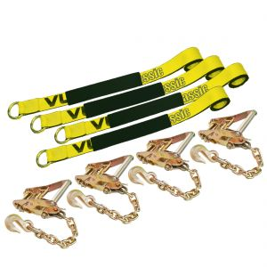 VULCAN Lasso Style Auto Tie Down with Chain Anchors - 2 Inch x 96 Inch, 4 Pack - 3,300 Pound Safe Working Load