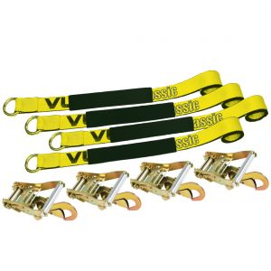 VULCAN Lasso Style Auto Tie Down with Snap Hooks - 2 Inch x 96 Inch, 4 Pack - 3,300 Pound Safe Working Load