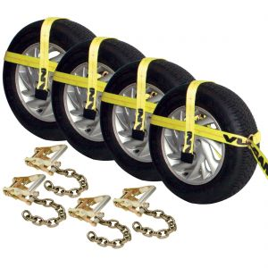 VULCAN Adjustable Loop Tie Down with Chain Ratchet - 4 Pack - 3,300 Pound Safe Working Load