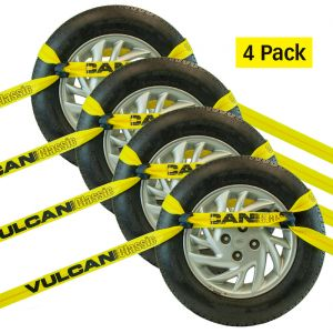 VULCAN 8-Point Roll Back Vehicle Tie Down Kit with Chain Tails On Both Ends, Set of 4