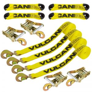 VULCAN 8-Point Roll Back Vehicle Tie Down Kit with Snap Hooks On Both Ends, Set of 4