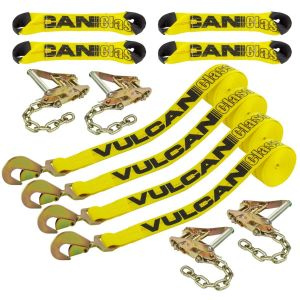 VULCAN 8-Point Roll Back Vehicle Tie Down Kit with Snap Hook On Strap Ends and Chain Tail On Ratchet Ends, Set of 4