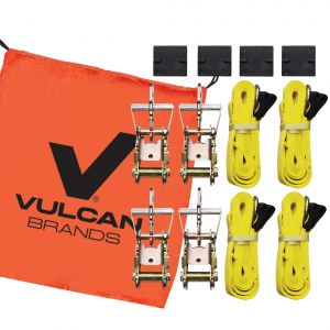 VULCAN Adjustable Loop Car Tie Down Kit with Snap Hooks (Complete Kit Includes 4 Straps and 4 Ratchets)