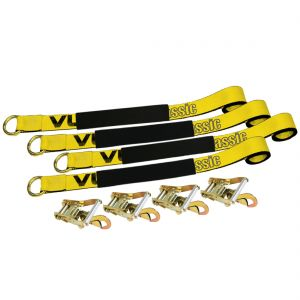 VULCAN Car Rim Tie Down System with Ratchets - 2 Inch x 144 Inch, 4 Pack - 3,300 Pound Safe Working Load