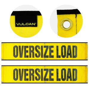 VULCAN Oversized Load Banner for Escort Vehicles, 2 Pack -  Mesh - 12 Inch x 60 Inch