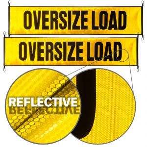 VULCAN Oversize Load Banner with Heavy Duty Stretch Cords and Metal Hooks, 2 Pack - Reflective - 18 Inch x 84 Inch