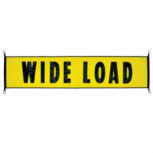 VULCAN Wide Load Banner with Heavy Duty Metal Hooks - Stretch Cord Mesh - 18 Inch x 84 Inch