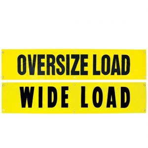 VULCAN Wide Load/Oversize Load Banner with Heavy Duty Brass Banner Grommets - Reversible - 18 Inch x 84 Inch - 2 Pack