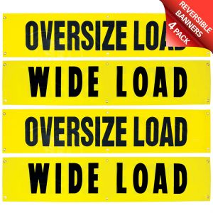 VULCAN Wide Load/Oversize Load Banner with Heavy Duty Brass Banner Grommets - Reversible - 18 Inch x 84 Inch - 4 Pack