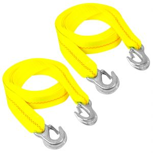 VULCAN Tow Strap with Snap Hooks - 2 Inch, 2 Pack - 3,000 Pound Safe Working Load