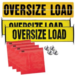 VULCAN Flags, Oversize Load Signs, and Magnets Kit - Includes 1 Aluminum Oversize Load Sign, 2 Nylon Oversize Load Signs, 4 Red Flags, and 4 Magnets