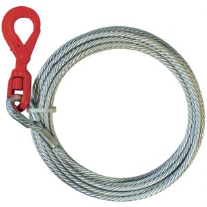 VULCAN Classic Galvanized Steel Core Winch Cable With Self-Locking Swivel Hook - 14,000 lbs. Minimum Breaking Strength - 3/8'' x 75'