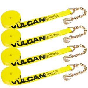 VULCAN Winch Strap with Chain Anchor - 2 Inch x 27 Foot, 4 Pack - Classic Yellow - 3,300 Pound Safe Working Load