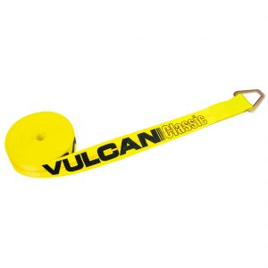 VULCAN Winch Strap with D Ring - 2 Inch - Classic Yellow - 3,300 Pound Safe Working Load
