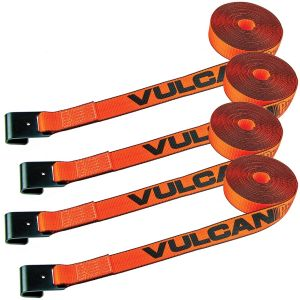 VULCAN Winch Strap with Flat Hook - 2 Inch x 27 Foot, 4 Pack - PROSeries - 3,300 Pound Safe Working Load