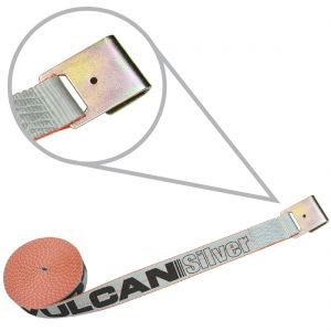 VULCAN Winch Strap with Flat Hook - 2 Inch - Silver Series - 3,300 Pound Safe Working Load